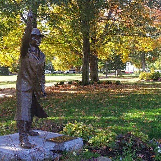 statue in park in Hopkinton, MA