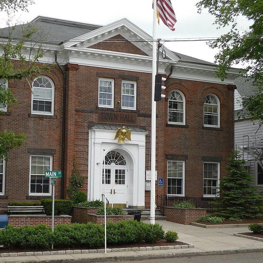 Ridgefield CT city photo, brick building