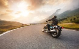motorcycle rider on a rural road