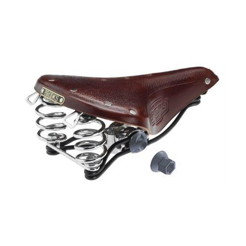 Brown bike seat with Brooks saddle lock