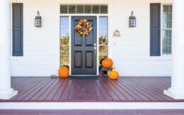 front door decorated for fall