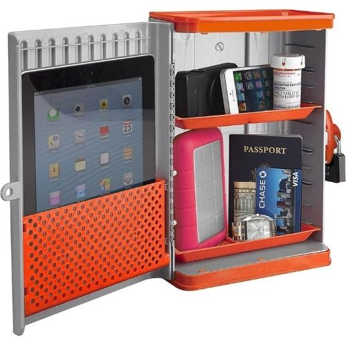Grey and orange dorm safe open, demonstrating what it can hold
