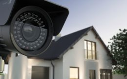 Exterior of home with security camera