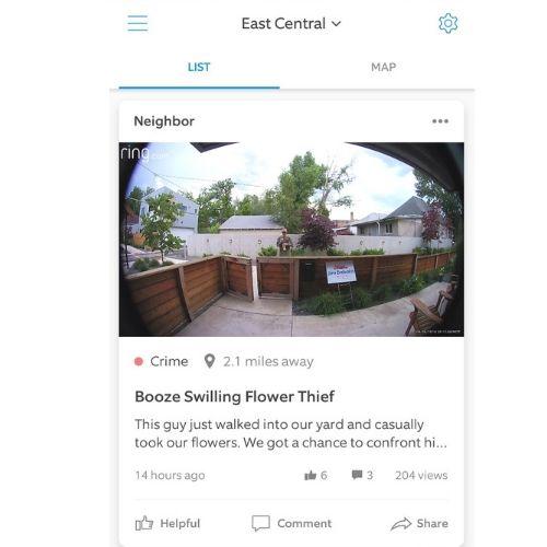 Screenshot from Ring Neighbors app