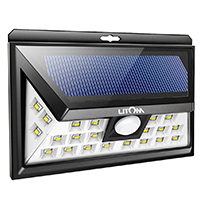 black and white solar litom outdoor security light