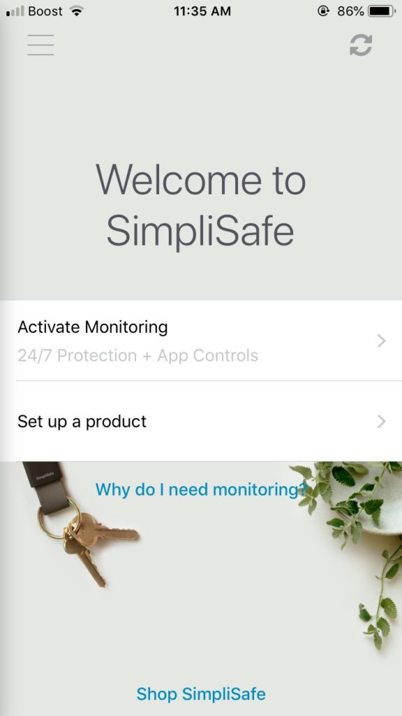 simplicam simplisafe app welcome screen
