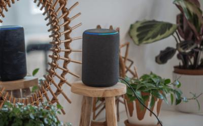 Amazon Echo on stool