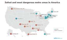 map showing the 10 most dangerous and 10 safest metro areas in America