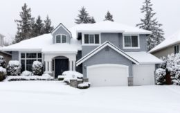 Snowy suburban home