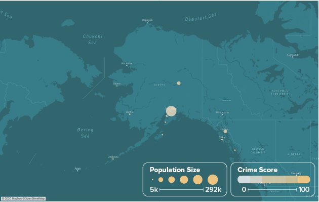 Alaska safest cities heat map showing population and crime score