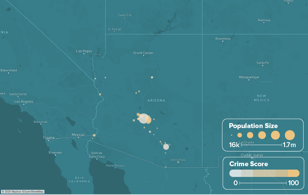 Arizona safest cities heat map showing population and crime score