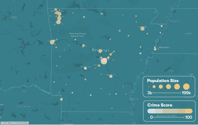 Arkansas safest cities heat map showing population and crime score