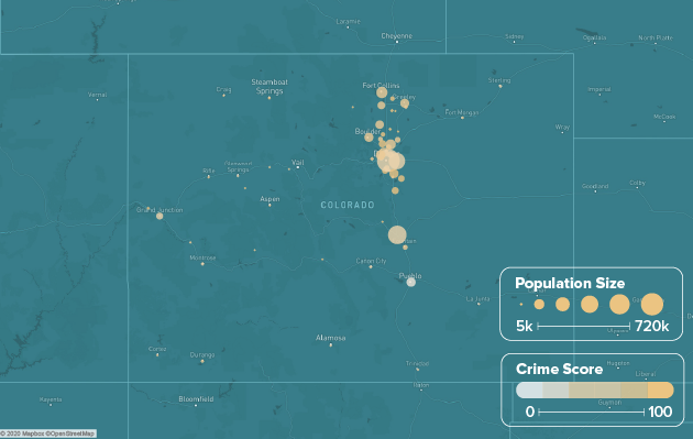 Colorado safest cities heat map showing population and crime score