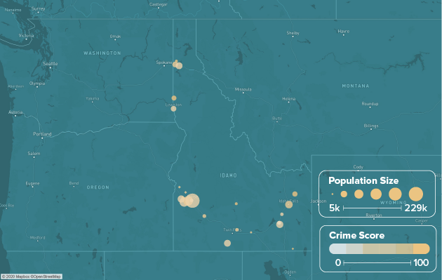 Idaho safest cities heat map showing population and crime score