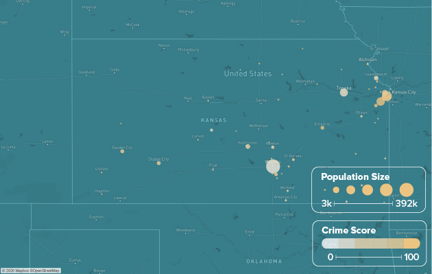 Kansas safest cities heat map showing population and crime score