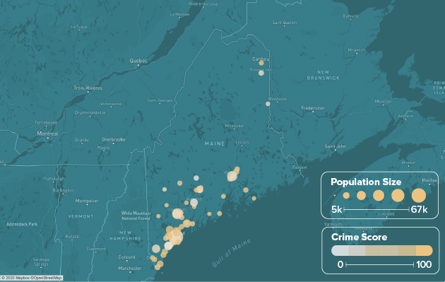 Maine safest cities heat map showing population and crime score