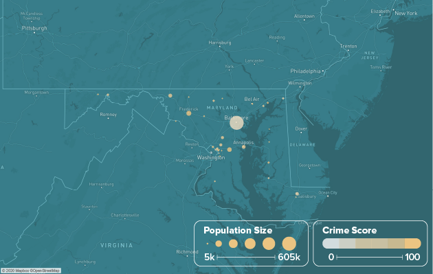 Maryland safest cities heat map showing population and crime score
