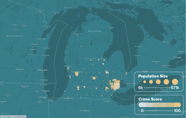 Michigan safest cities heat map showing population and crime score