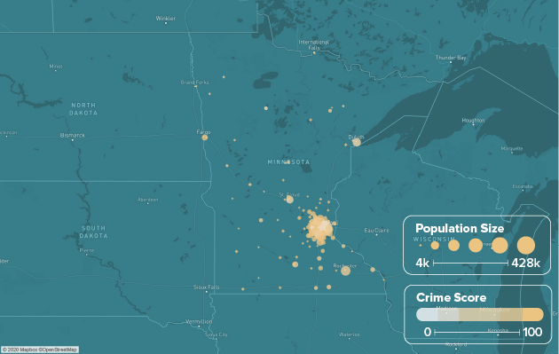 Minnesota safest cities heat map showing population and crime score