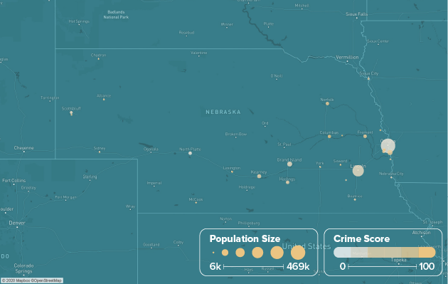 Nebraska safest cities heat map showing population and crime score