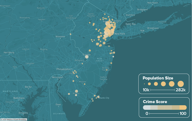 New Jersey safest cities heat map showing population and crime score