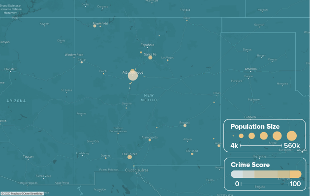 New Mexico safest cities heat map showing population and crime score