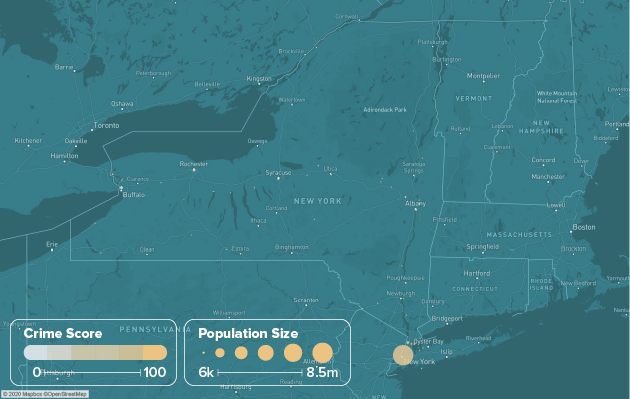 New York safest cities heat map showing population and crime score