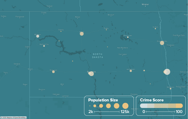 North Dakota safest cities heat map showing population and crime score