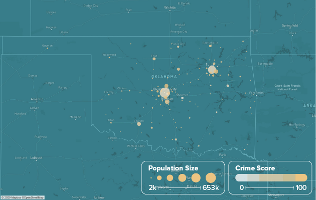 Oklahoma safest cities heat map showing population and crime score