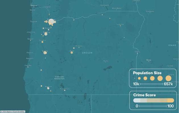 Oregon safest cities heat map showing population and crime score