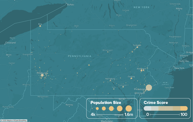 Pennsylvania safest cities heat map showing population and crime score