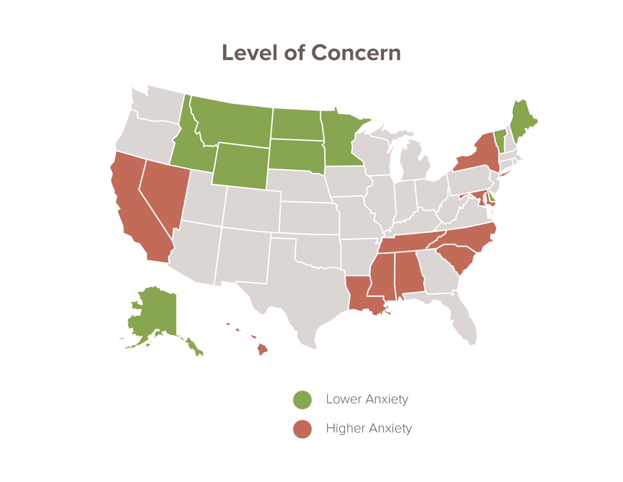 Level of concern across the US map showing highest and lowest concerned states