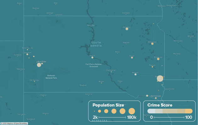 South Dakota safest cities heat map showing population and crime score