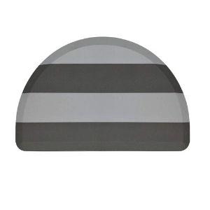 Grey striped Kangaroo anti-fatigue floor mat in semi-circle shape