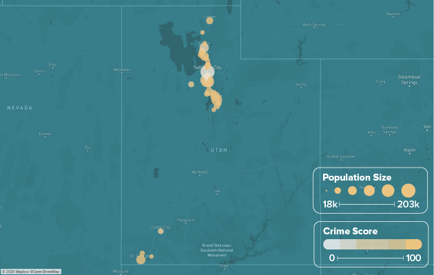 Utah safest cities heat map showing population and crime score