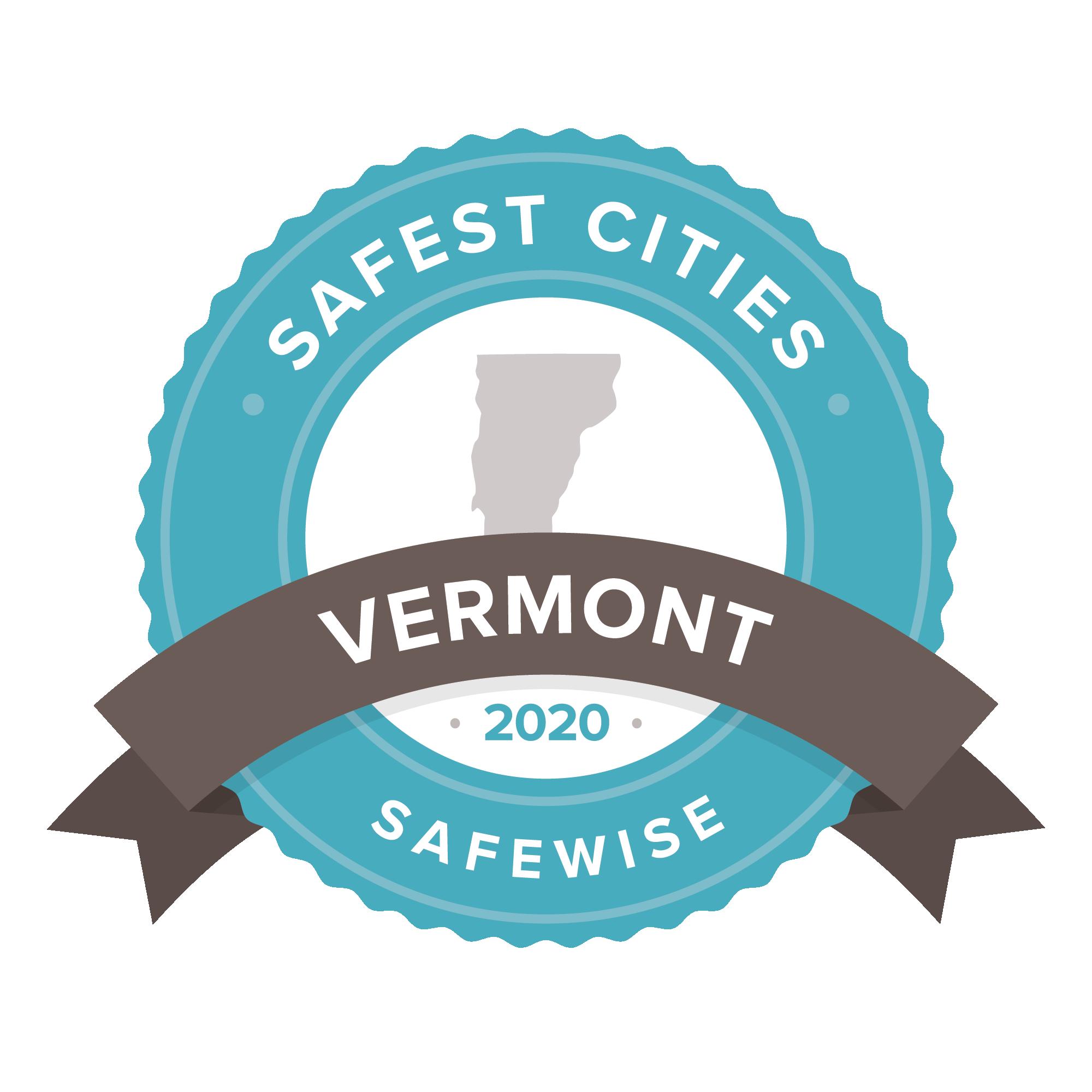 Vermont Safest Cities 2020 badge