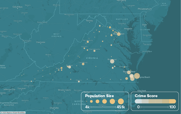 Virginia safest cities heat map showing population and crime score