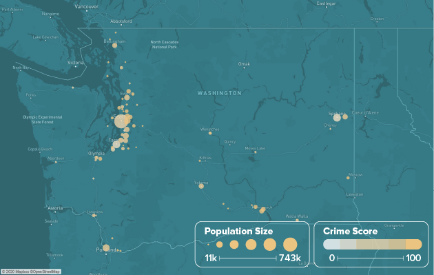 Washington safest cities heat map showing population and crime score
