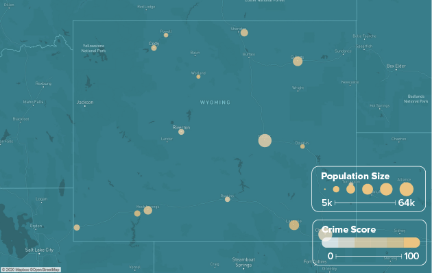 Wyoming safest cities heat map showing population and crime score