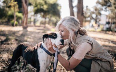 senior woman kissing dog's head