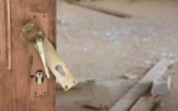 broken door handle from burglary