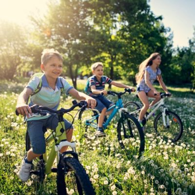 Children riding bikes in a meadow