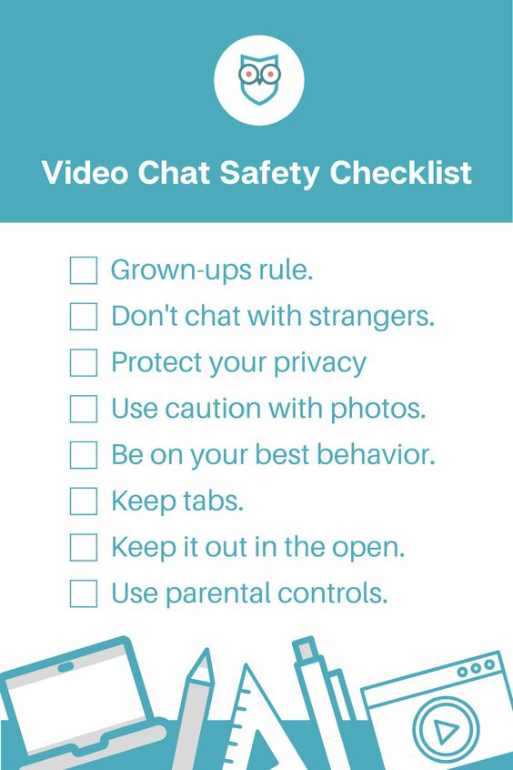 video chat safety illustrated checklist