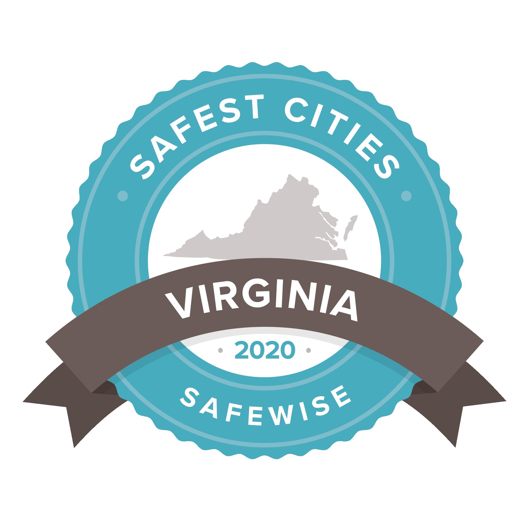 Safest Cities Virginia 2020 badge