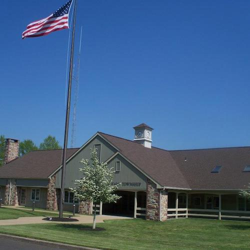 Buckingham Township city building with USA flag in front