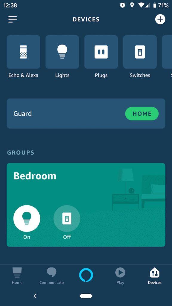 Amazon Alexa app smart device list
