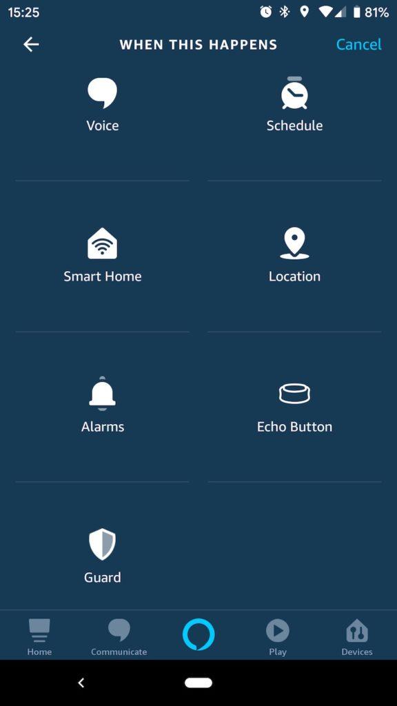 Amazon Alexa new routine, step 2