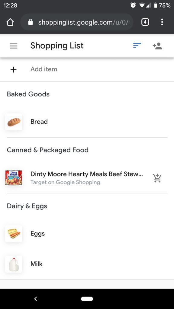 Google Assistant shopping list