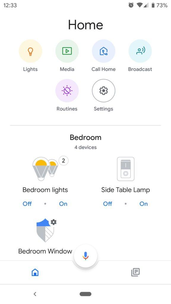 Google Home app smart device list