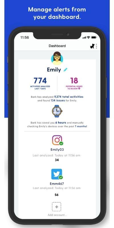 phone showing bark parental control app